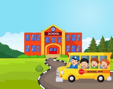 viagem: Dos desenhos animados de um ônibus escolar e as crianças na frente da escola