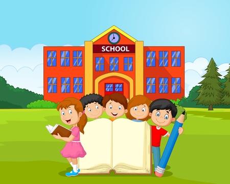 niños con lÁpices: Niños de dibujos animados con el libro y el lápiz Vectores