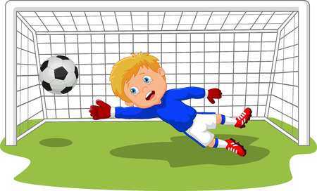 Voetbal goalie keeper cartoon opslaan van een doel Stock Illustratie