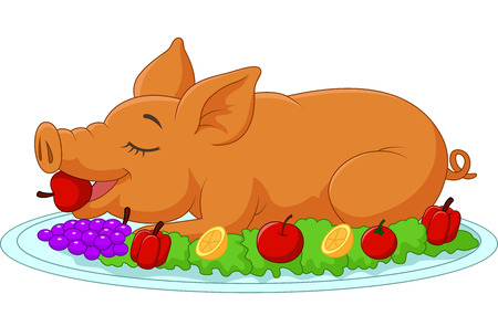 cerdo caricatura: Cartoon perforó cochinillo en un plato