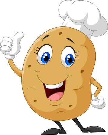 Cartoon potato giving thumb up  イラスト・ベクター素材