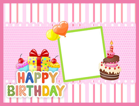 cute text box: Cartoon Birthday card