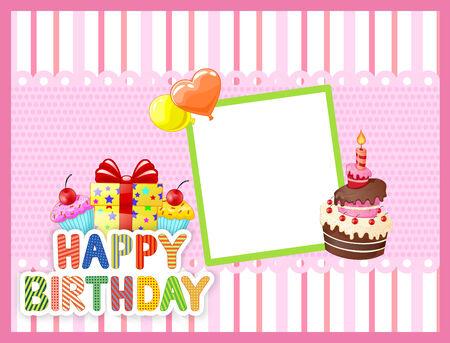 Tarjeta de cumpleaños de la historieta Foto de archivo - 36777964