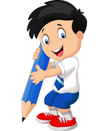 niño de pie: Muchacho de la historieta con un lápiz