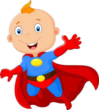 Cute cartoon baby superhero