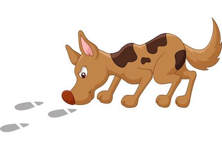 sniffing: Cartoon dog sniffing footprint Illustration