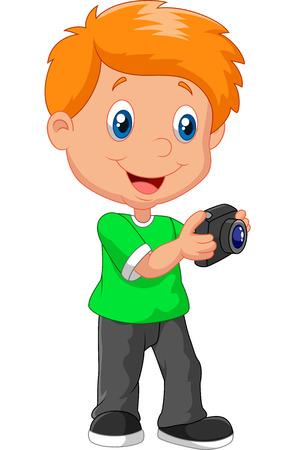 Jongetje cartoon bedrijf camera Stock Illustratie