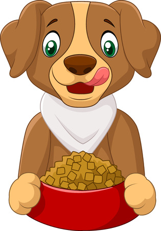 lick: Hungry dog cartoon with dog food Illustration