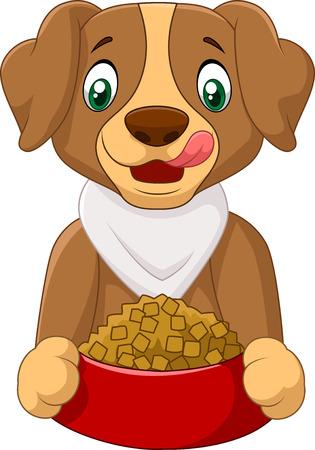 dog eating: Hungry dog cartoon with dog food Illustration