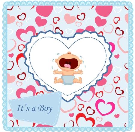 cartoon baby boy: Cartoon baby boy crying card