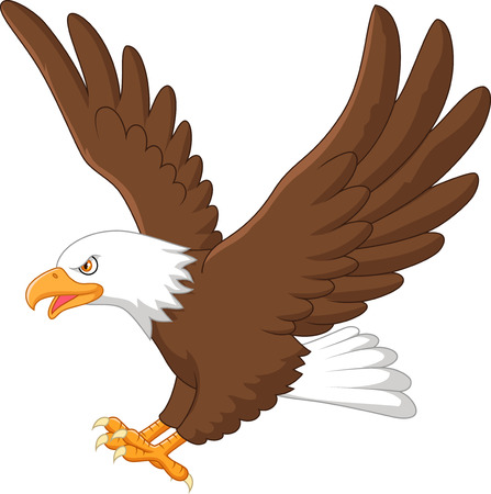 eagle feather: Cartoon eagle flying