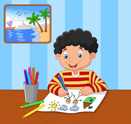 Cartoon little boy drawing Stock Illustratie