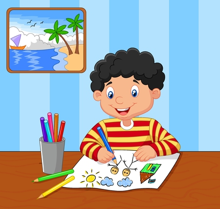 Cartoon little boy drawing Vectores