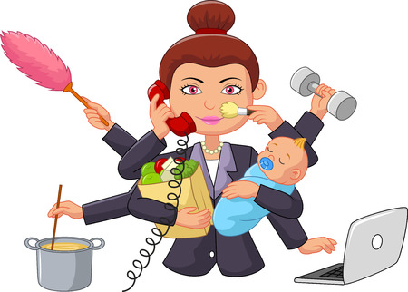 stressed business woman: Cartoon multitasking housewife
