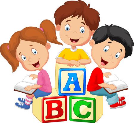 niños leyendo: Libro de lectura de los niños de dibujos animados y sentado en bloques de madera Vectores