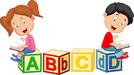 carton: Children cartoon reading book and sitting on alphabet blocks