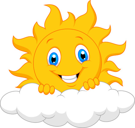 Happy sun cartoon behind the cloud