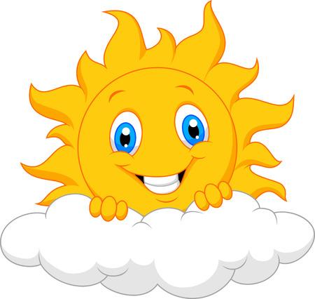 sonne: Glückliche Sonne cartoon hinter der Wolke Illustration