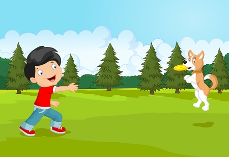 outdoor activities: Cartoon boy playing Frisbee with his dog