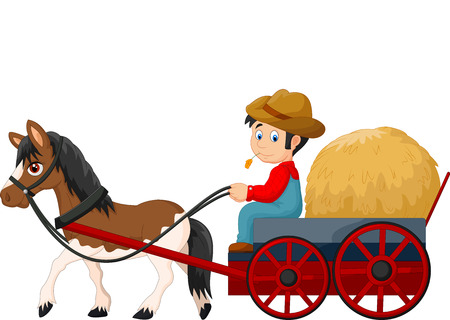 country farm: Cartoon farmer with hay cart