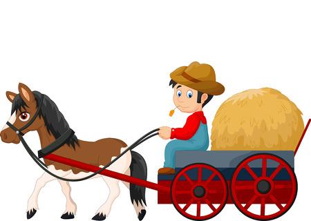 cartoon farmer: Cartoon farmer with hay cart