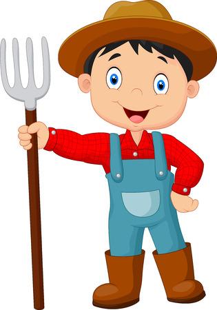 niño: Cartoon joven agricultor rastrillo celebración