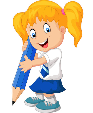 school uniform: Cartoon girl with pencil