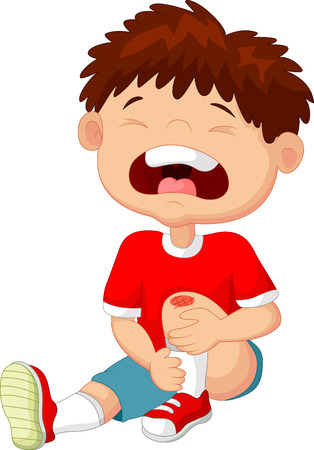 Cartoon boy crying with a scratch on his knee Çizim