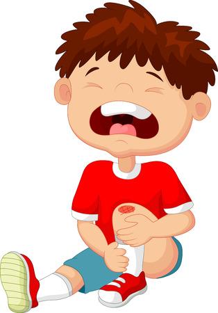 de rodillas: Muchacho de la historieta que grita con un rasguño en la rodilla