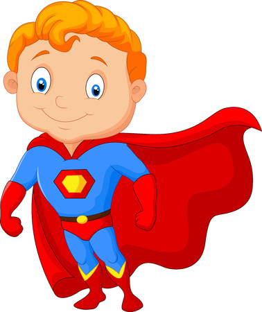 Cartoon little boy superhero