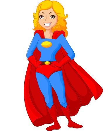 menina: Desenhos animados do sexo feminino super-herói posando