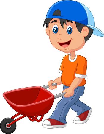 niño empujando: Historieta linda del muchacho empujando una carretilla