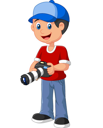 Little boy cartoon holding camera