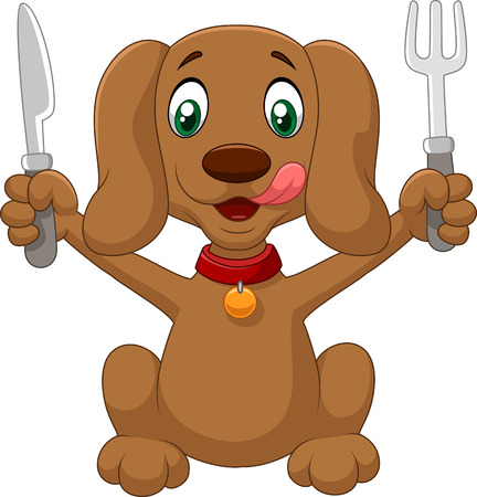 knife and fork: Hungry dog cartoon is ready to eat Illustration