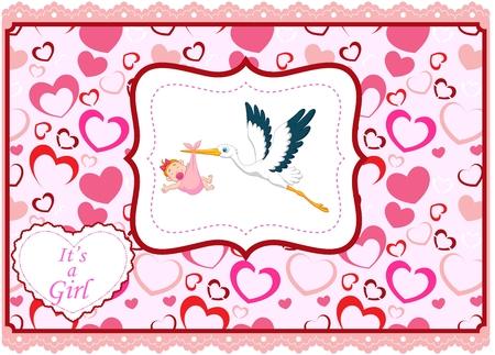 baby girl: Cartoon stork with baby girl card Illustration