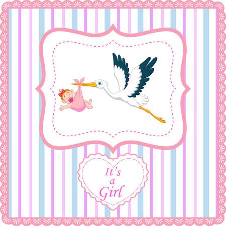 stork: Cartoon stork with baby girl card Illustration