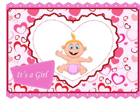 baby girl: Cute cartoon baby girl card Illustration