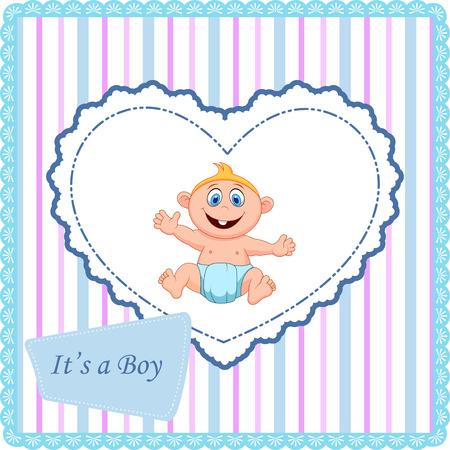 new born baby boy: Cute cartoon baby card Illustration