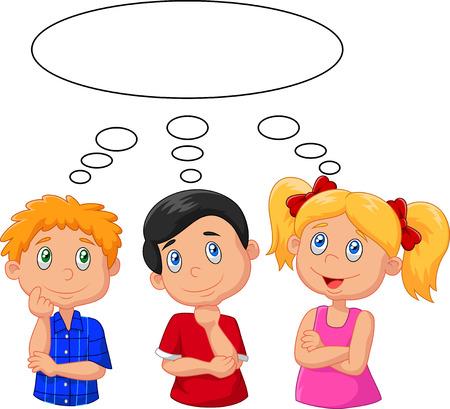 ni�os pensando: Cartoon ni�os que piensan con burbuja blanca Vectores