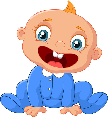 sweet tooth: Happy cartoon baby boy