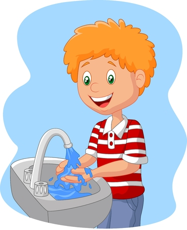 wash: Cartoon boy washing hand Illustration