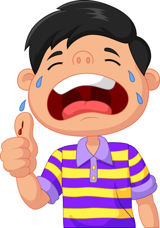 injured person: Cartoon boy crying because of a cut on his thumb