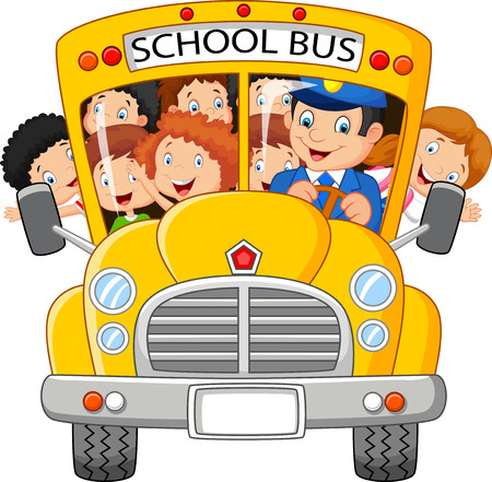 child smiling: School Kids cartoon Riding a School Bus