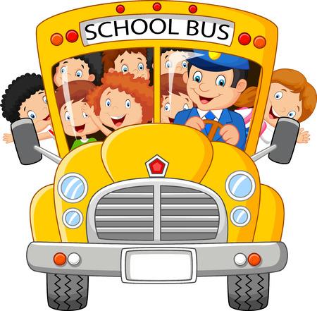 cartoon mensen: School Kids cartoon Riding een School Bus