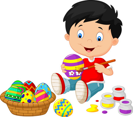 kids painting: Little boy cartoon painting an Easter egg