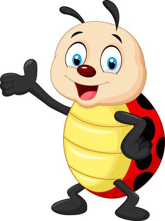 hand cartoon: Happy cartoon ladybug waving hand