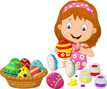 kids painting: Little girl cartoon painting an Easter egg Illustration