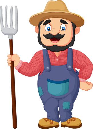 Cartoon agricoltore che detiene un rastrello Vettoriali