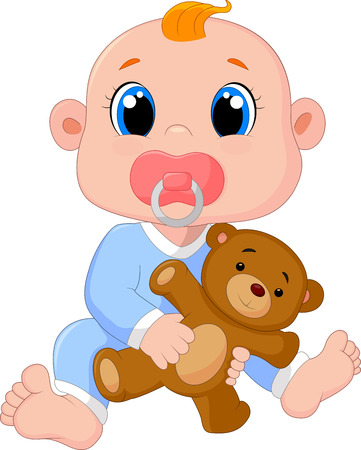 cartoon baby boy: Cartoon Baby Boy With Pacifiers and Toys