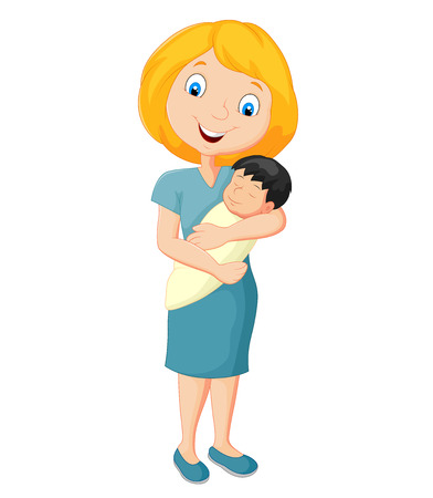 tenderly: Cartoon Young mother tenderly embracing their baby